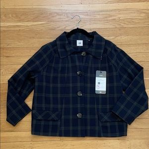 CABI navy plaid Connery Jacket M